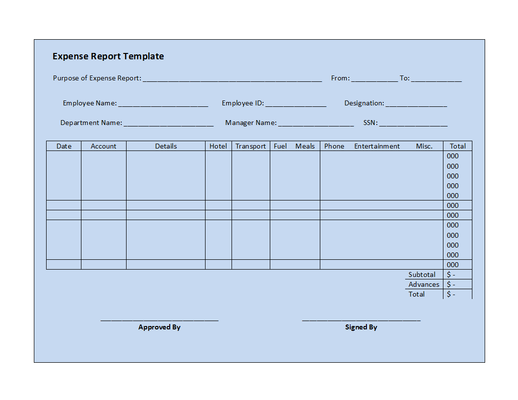 Expense Report Template Template  Microsoft Expense Report Template