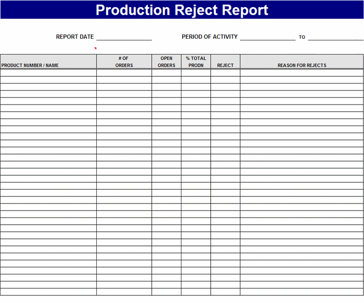 Product reject report Template