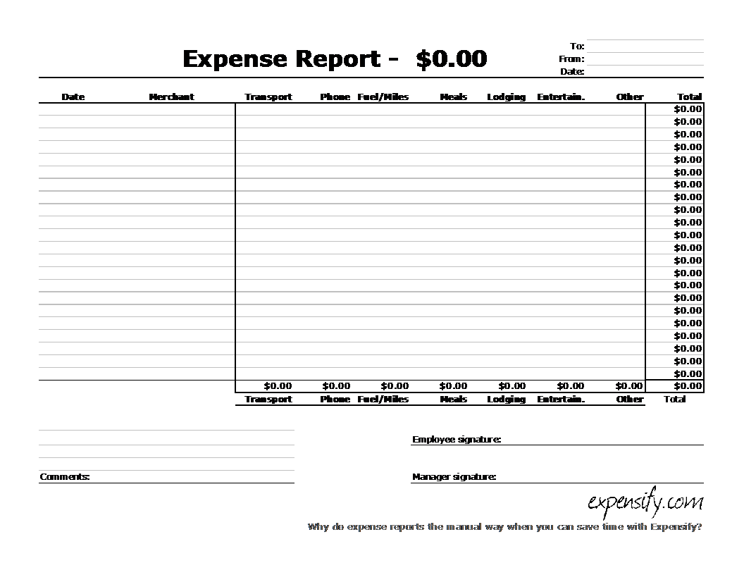 Standard Expense Report Template