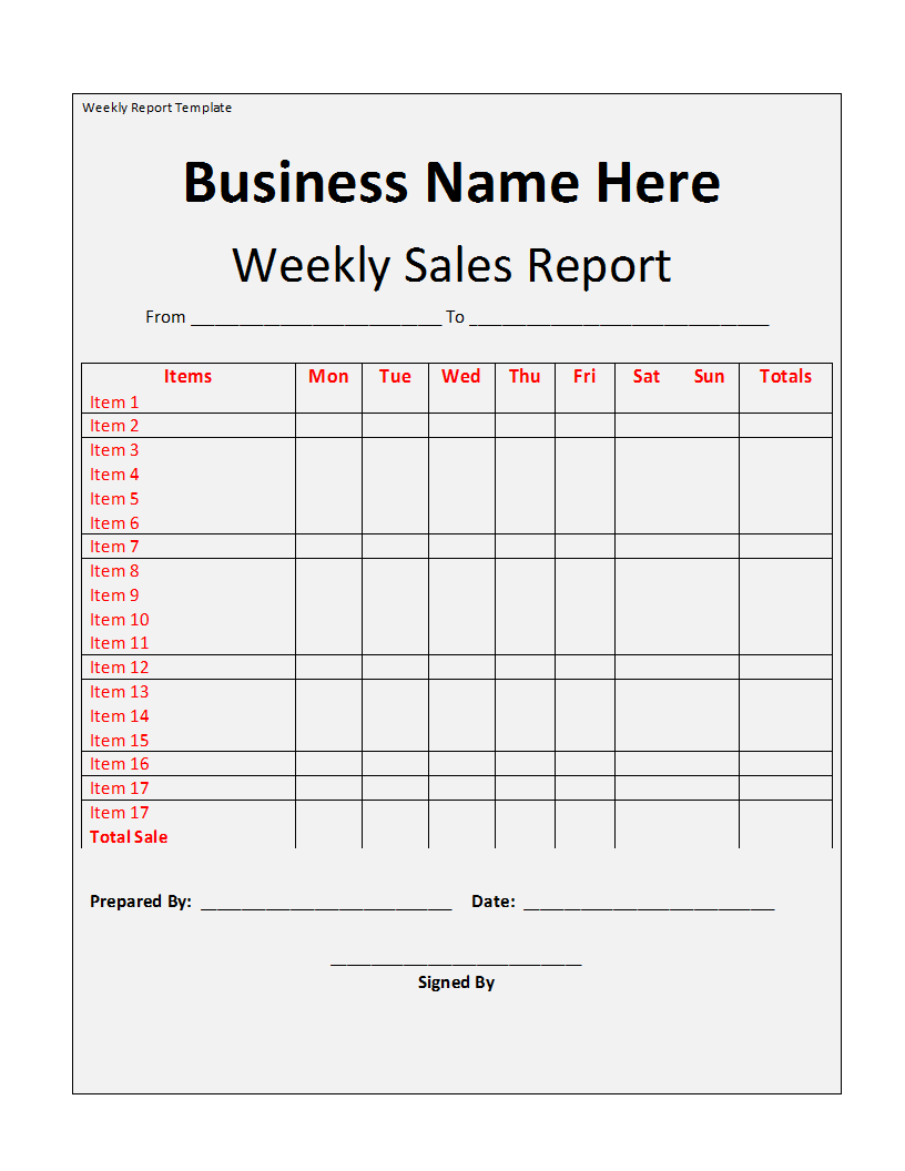 Weekly report template weekly report template template wajeb Image collections