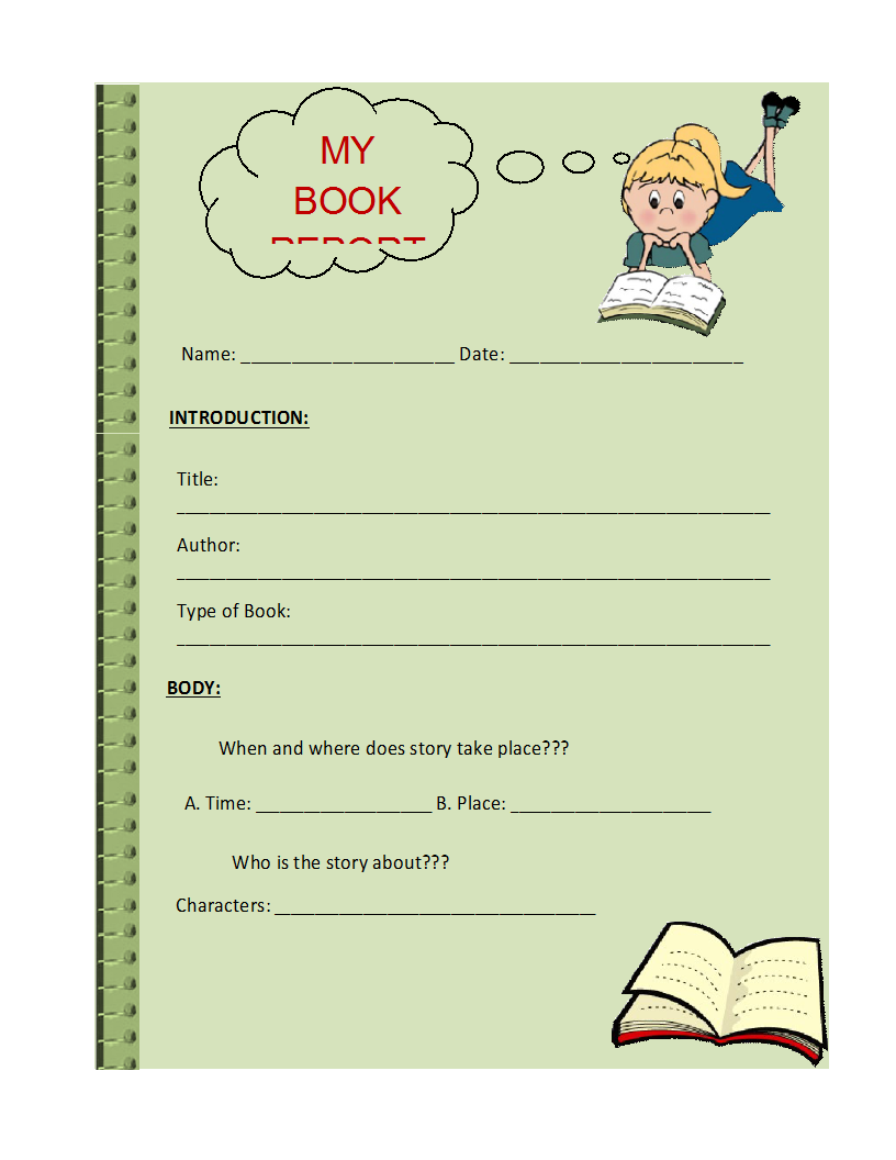Sample Book Report Template