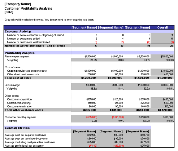 client analysis template customer profitability analysis template