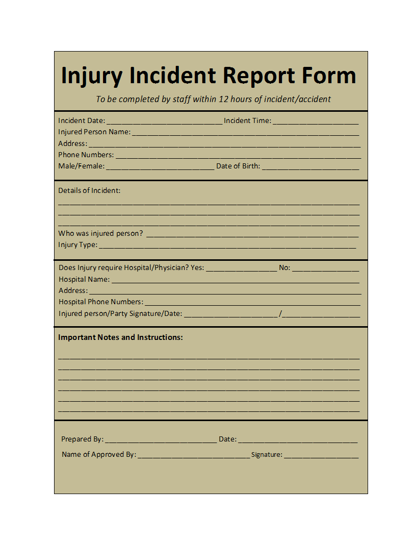 Free Printable Report Templates Part 2 – Free Printable Incident Reports