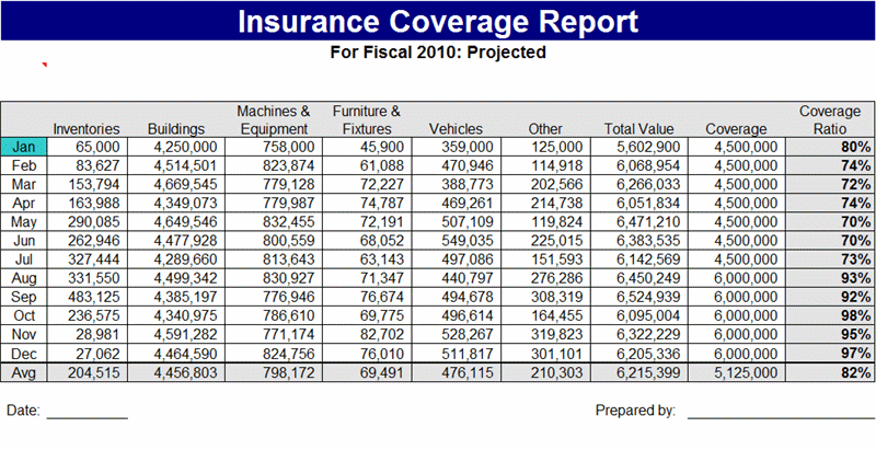 Sample Insurance coverage report