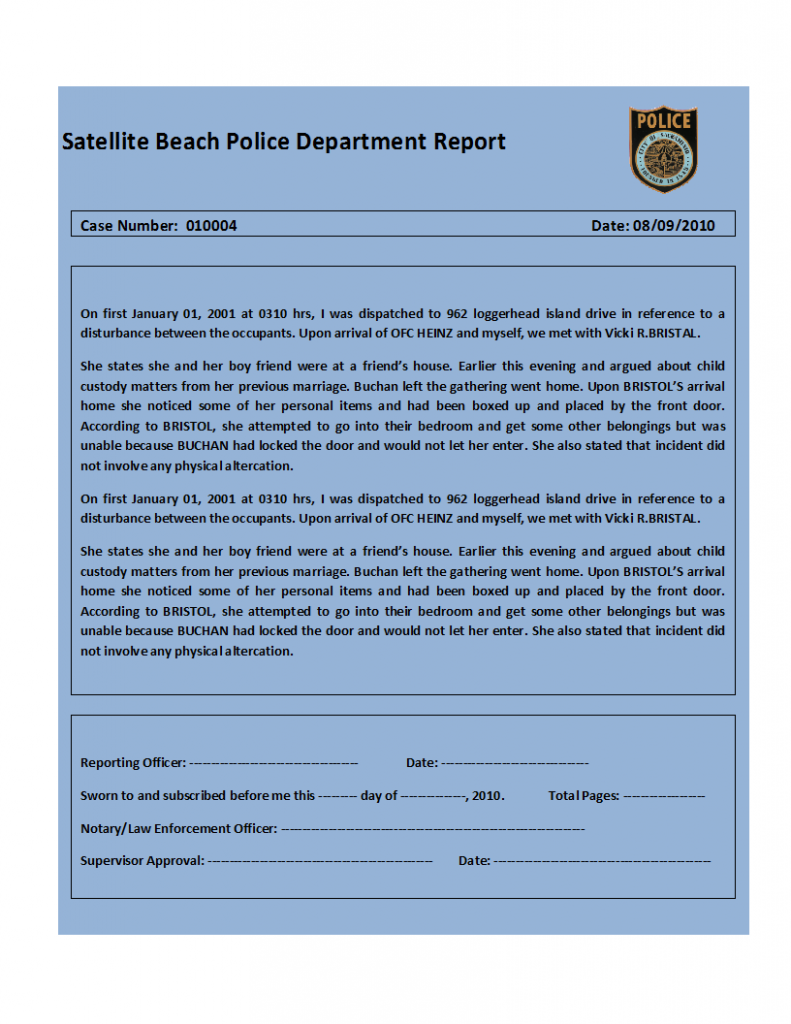 student help center police report writing template
