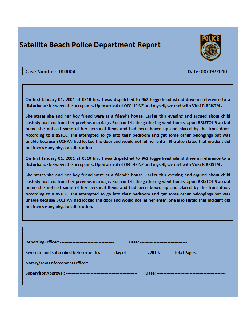 printable report templates police report template