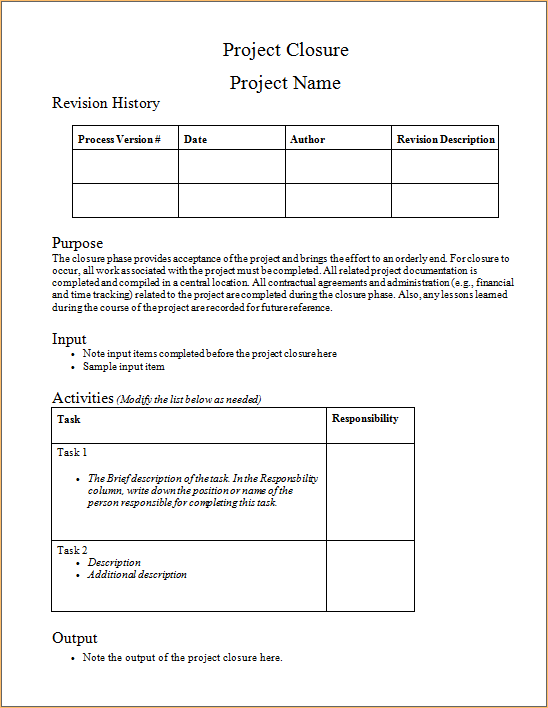 Writing a discipline report for academic promotion staff for End of project report template