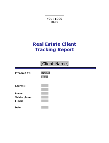 Sample Real estate client tracking report Template