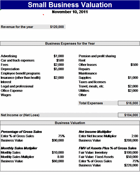 Sample Small business valuation Report