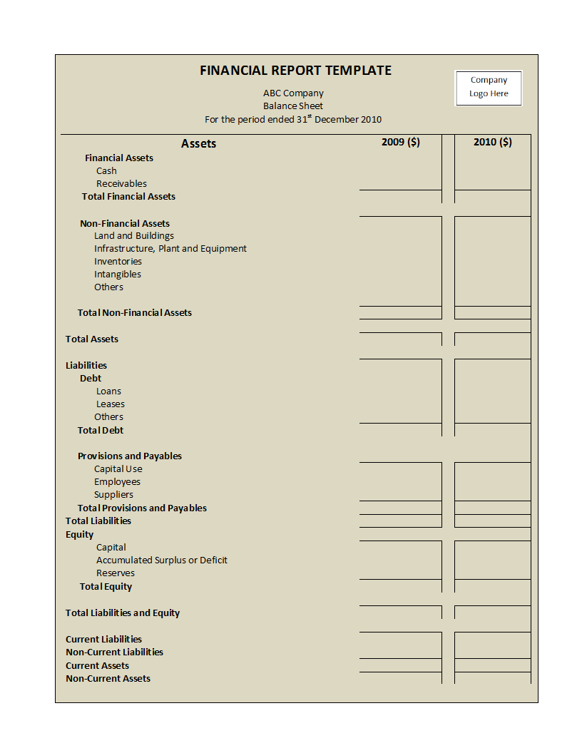 template for financial report